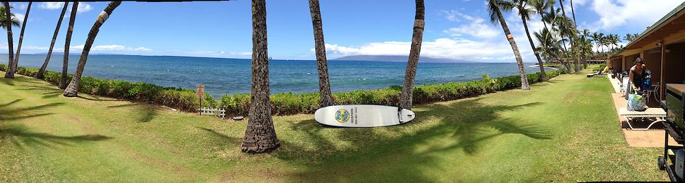 Surfboard at Puamana (Panorama), Lahaina, Maui, Hawaii, US