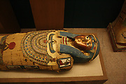 Coffin and Mummy of Irti-Rutja,  Ptolemaic Period, 305-30 BC.  Said to be from Akhmim. Painted, gessoed and gilded wood, linen; painted and gilded cartonnage.