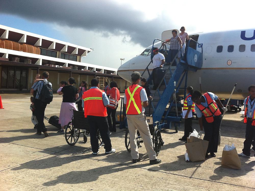 Belize City, Belize 8/31/2012.Arriving at the Belize City airport on United Airlines flight 1410..Alex Jones / www.alexjonesphoto.com