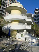 view of new art deco hotel with swimming pool Miami Beach USA