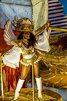 Dancer on a float in the Carnaval parade of GRES Sao Clemente samba school in the Sambadrome, Rio de Janeiro, Brazil.
