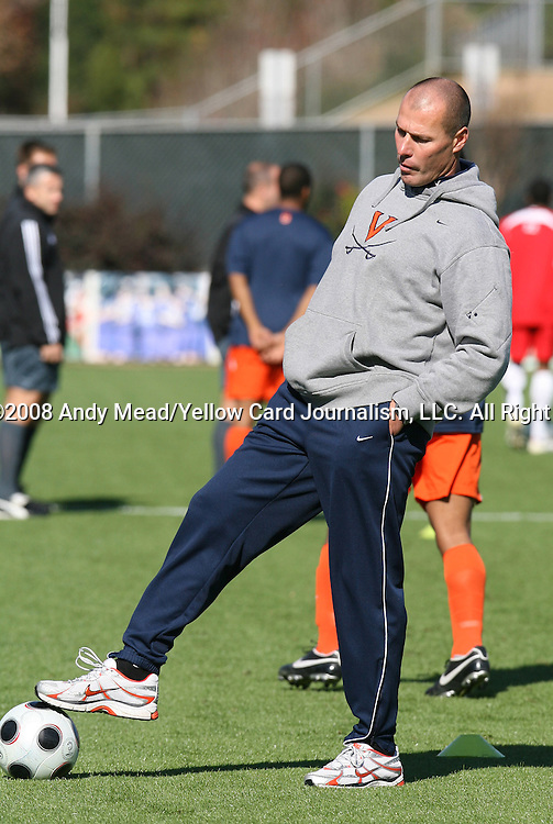 16 November 2008: Virginia head coach George Gelnovatch. The University of Maryland defeated the University of Virginia 1-0 at WakeMed Stadium at WakeMed Soccer Park in Cary, NC in the men's ACC tournament final.