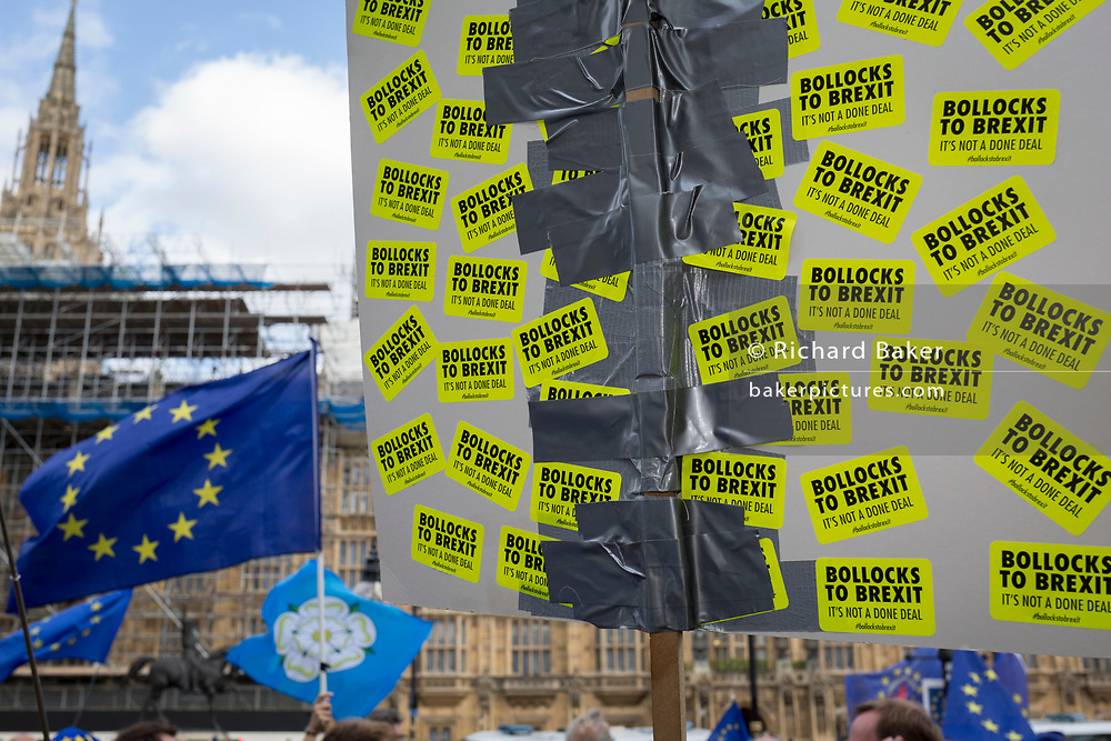 On the day that rebel Conservative Party rebels and opposition MPs attempt to pass a law designed to prevent a no-deal Brexit by the government of Prime Minister Boris Johnson, pro-EU Remainers protest outside Parliament, on 3rd September 2019, in Westminster, London, England.