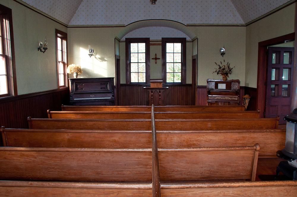 Interior of Oysterville Church, Oysterville, Washington, US