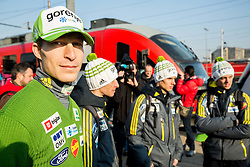 Jurij Tepes prior to the departure of a train Ljubljana - Jesenice where will be placed press conference of Slovenian Ski jumping team, on March 18, 2015 in Ljubljana train station, Slovenia. Photo by Vid Ponikvar / Sportida
