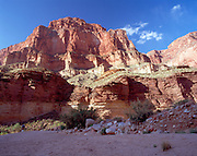 Blacktail Creek, Colorado River mile 120, Grand Canyon National Park, Arizona, USA; 7 May 2008; Pentax 67II, 45mm lens, polarizer, Velvia 100; Jeff Howell puts away his sleeping bag (MR on file)