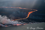 lava erupting from fissure 8 of the Kilauea Volcano east rift zone in Leilani Estates subdivision, near Pahoa, flows as a glowing river through agricultural plots to enter the ocean just south of Cape Kumukahi, Kapoho, Puna District, Hawaii Island ( the Big Island ), Hawaiian Islands, U.S.A. ( Pacific Ocean )
