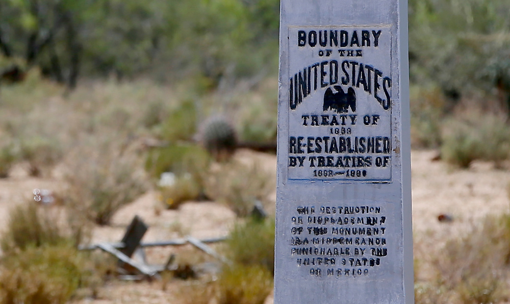 A boundary monument marking the U.S. - Mexico border is seen from the Tohono O'odham reservation looking into Mexico in Chukut Kuk, Arizona April 6, 2017. Picture taken April 6, 2017.  REUTERS/Rick Wilking