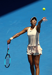 MELBOURNE, Jan. 22, 2018  Madison Keys of the United States serves during the women's singles fourth round match against Caroline Garcia of France at Australian Open 2018 in Melbourne, Australia, Jan. 22, 2018. Madison Keys won 2-0. (Credit Image: © Li Peng/Xinhua via ZUMA Wire)
