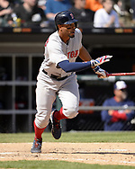 CHICAGO - MAY 05:  Xander Bogaerts #2 of the Boston Red Sox bats against the Chicago White Sox on May 5, 2019 at Guaranteed Rate Field in Chicago, Illinois.  (Photo by Ron Vesely)  Subject:  Xander Bogaerts
