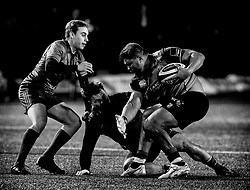 Cardiff Blues' Nick Williams under pressure from Munster's Chris Cloete<br /> <br /> Photographer Simon King/Replay Images<br /> <br /> Guinness PRO14 Round 15 - Cardiff Blues v Munster - Saturday 17th February 2018 - Cardiff Arms Park - Cardiff<br /> <br /> World Copyright © Replay Images . All rights reserved. info@replayimages.co.uk - http://replayimages.co.uk