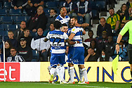 GOAL The QPR players celebrate with QPR forward (on loan from Watford) Andre Gray (19) 0-1 during the EFL Sky Bet Championship match between West Bromwich Albion and Queens Park Rangers at The Hawthorns, West Bromwich, England on 24 September 2021.