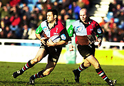 Twickenham, Surrey, UK., 19.01.2002, Quin's Wing Matt Moore, lean's into to the attack, during the, Harlequins vs Leicester Tigers Powergen National Cup Rugby match, played at the, Stoop Memorial Ground, [Mandatory Credit: Peter Spurrier/Intersport Images],