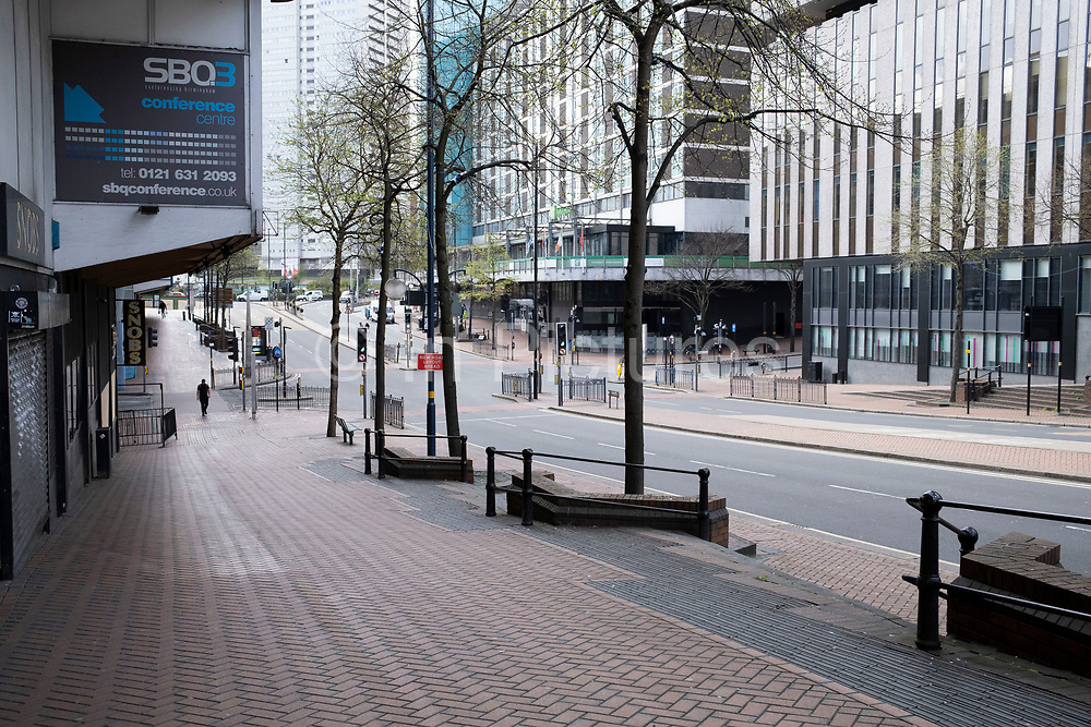Local atmosphere due to Coronavirus lockdown is felt on a street by street level as streets remain deserted on Smallbrook Queensway in the city centre as people observe the stay at home advice from the government on 7th April 2020 in Birmingham, England, United Kingdom. Coronavirus or Covid-19 is a new respiratory illness that has not previously been seen in humans. While much or Europe has been placed into lockdown, the UK government has announced more stringent rules as part of their long term strategy, and in particular social distancing.