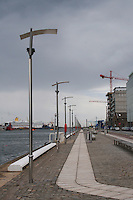 The River Liffey docks in Dublin Ireland, stormy clouds