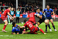 Timothy Lafaele of Japan is tackled by Ramil Grayson of Russia <br /> <br /> Photographer Craig Thomas<br /> <br /> Japan v Russia<br /> <br /> World Copyright ©  2018 Replay images. All rights reserved. 15 Foundry Road, Risca, Newport, NP11 6AL - Tel: +44 (0) 7557115724 - craig@replayimages.co.uk - www.replayimages.co.uk