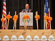 Diego Linares comments during a groundbreaking ceremony at Scarborough High School, March 29, 2017.
