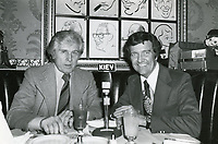 1978 Radio commentator/interviewer, Gregg Hunter is seen interviewing John Raitt, during his KIEV radio show at the Hollywood Brown Derby Restaurant, on Vine St.