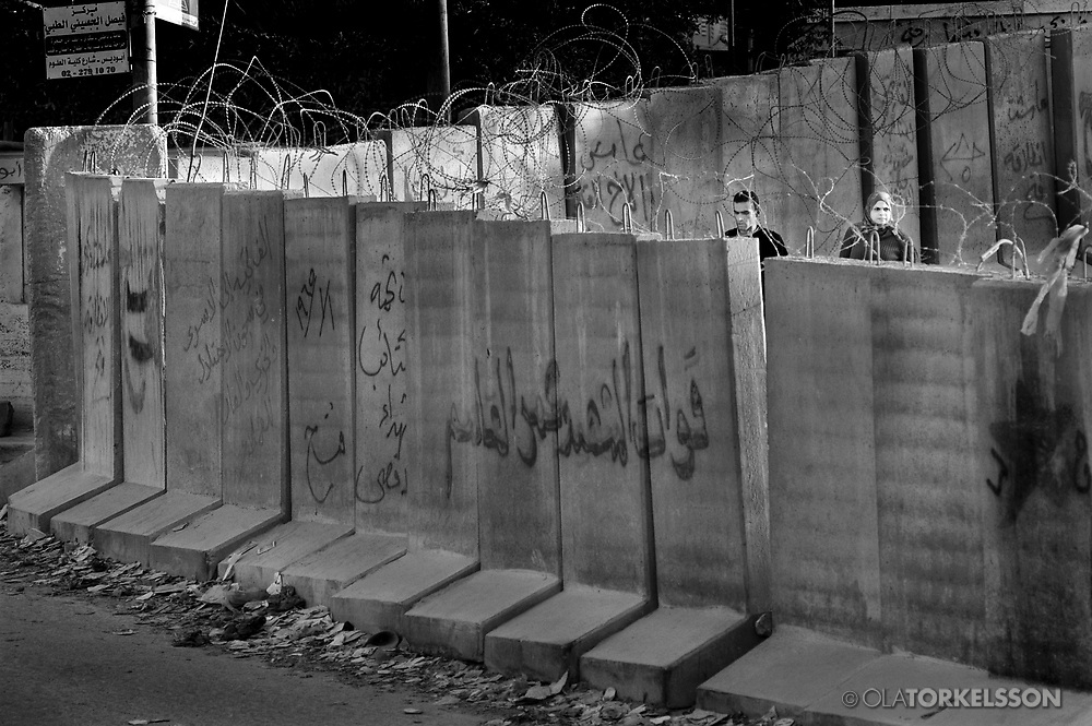 The wall in Abu Dis, West Bank 2003.<br /> Photos from the building of the israel so called security barrier that cuts through the Palestinian village of Abu Dis.