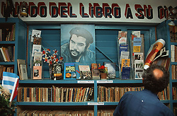 Bookshop in Havana; Cuba; with books and a picture of Che Guevara,