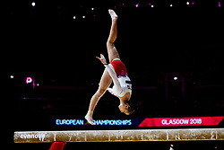 Bulgaria's Pamela Georgieva on the beam during day one of the 2018 European Championships at The SSE Hydro, Glasgow.