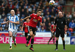21 October 2017 Huddersfield: Premier League Football: Huddersfield Town v Manchester United: Aaron Mooy of Town (left) and Ander Herrera of United.<br /> Photo: Mark Leech