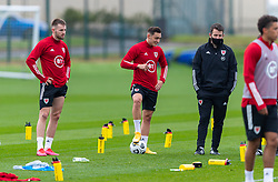 CARDIFF, WALES - Monday, October 5, 2020: Wales' Rhys Norrington-Davies, Connor Roberts and Ronan Kavanagh during a training session at the Vale Resort ahead of the International Friendly match against England. (Pic by David Rawcliffe/Propaganda)
