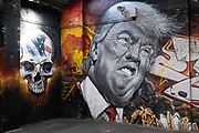 Street art mural of a grimmacing former US President Donald Trump next to a human skull in Digbeth on 31st March 2021 in Birmingham, United Kingdom. Trump and the image of him has been the subject of much derision both during and after his presidency, and to some becoming a figure of hate, who has been heavily satirised and mocked.