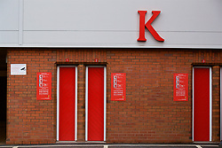LIVERPOOL, ENGLAND - Friday, October 13, 2017: A K on the side of the Centenary Stand, renamed the Kenny Dalglish Stand. (Pic by David Rawcliffe/Propaganda)