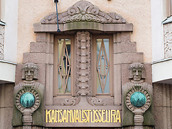 Detail of art nouveau decoration on apartment building in Helsinki Finland