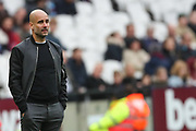 Manchester City manager Pep Guardiola during the Premier League match between West Ham United and Manchester City at the London Stadium, London, England on 29 April 2018. Picture by Toyin Oshodi.