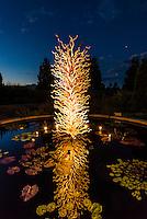 """White Tower"", Dale Chihuly Exhibition (blown glass), Denver Botanic Gardens, Denver, Colorado USA."