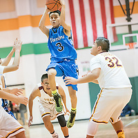121714  Adron Gardner/Independent<br /> <br /> Navajo Pine Warrior Francis Nez (3) attempts a jump shot at the top of the key against the Tohatchi Cougars during the Wingate Classic in Wingate Thursday.