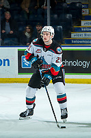 KELOWNA, BC - FEBRUARY 8: Jake Lee #21 of the Kelowna Rockets skates with the puck against the Portland Winterhawks at Prospera Place on February 8, 2020 in Kelowna, Canada. (Photo by Marissa Baecker/Shoot the Breeze)