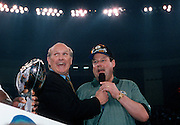 Former Pittsburgh Steelers quarterback and current television sports analyst Terry Bradshaw laughs as as he interviews Green Bay Packers head coach Mike Holmgren during the postgame trophy presentation after the Packers defeated the New England Patriots to win the Super Bowl XXXI NFL football game on January 26, 1997 in New Orleans, Louisiana. The Packers won the game 35-21. ©Paul Anthony Spinelli