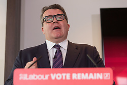 © Licensed to London News Pictures. 10/06/2016. LONDON, UK.  TOM WATSON makes a speech detailing an analysis of how a Conservative Brexit Budget would look if the UK were to vote to leave the European Union (EU) in a referendum. The Labour Party analysis warns of the implications a Brexit Budget would have on public services and family finances, including the introduction of more than £18bn in social security cuts and tax rises.  Photo credit: Vickie Flores/LNP