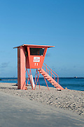 A lifeguard stand on Waikiki Beach.