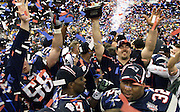 The New England Patriots bask in a shower of Red White and Blue confetti as they celebrate their 20-17 win over the St. Louis Rams in Super Bowl XXVI February 3, 2002, at the New Orleans Super Dome.