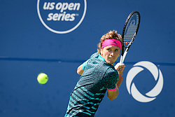 August 10, 2018 - Toronto, ON, U.S. - TORONTO, ON - AUGUST 10: Alexander Zverev (GER) returns the ball during his Quarter-Finals match of the Rogers Cup tennis tournament on August 10, 2018, at Aviva Centre in Toronto, ON, Canada. (Photo by Julian Avram/Icon Sportswire) (Credit Image: © Julian Avram/Icon SMI via ZUMA Press)