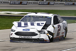 April 8, 2018 - Ft. Worth, Texas, United States of America - April 08, 2018 - Ft. Worth, Texas, USA: Brad Keselowski (2) wrecks to bring out a caution during the O'Reilly Auto Parts 500 at Texas Motor Speedway in Ft. Worth, Texas. (Credit Image: © Chris Owens Asp Inc/ASP via ZUMA Wire)