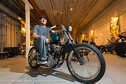 Mike Rabideau of Majik Mike Customs at the In Motion invitational bike show at the Lone Star Rally. Galveston, TX. USA. Friday November 3, 2017. Photography ©2017 Michael Lichter.