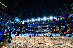 Centercourt with the sisters Nicole and Megan McNamara in action during the first day of the beach volleyball event King of the Court at Jaarbeursplein on September 9, 2020 in Utrecht.
