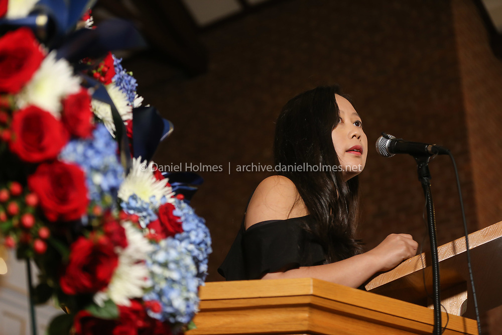 (9/11/19, FRAMINGHAM, MA) Framingham resident and 9/11 survivor Joyce Ng recounts her experience during the annual remembrance of 9/11 at Cushing Chapel in Framingham on Wednesday. [Daily News and Wicked Local Photo/Dan Holmes]