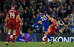 Leicester City's Shinji Okazaki scores his side's first goal of the game during the Carabao Cup, third round match at the King Power Stadium, Leicester.