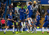 Football - 2018 / 2019 Premier League - Chelsea vs. Leicester City<br /> <br /> Harry Maguire (Leicester City) gets just under the ball as the corner comes in at Stamford Bridge <br /> <br /> COLORSPORT/DANIEL BEARHAM