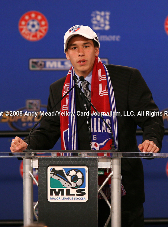 18 January 2008: Eric Avila was taken by FC Dallas with the nineteenth overall pick. The 2008 Major League Soccer SuperDraft was held at the National Soccer Coaches Association of America's annual convention was held at the Convention Center in Baltimore, Maryland.