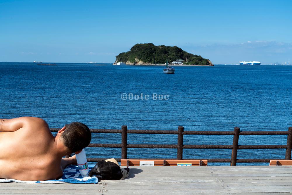 relaxing Tokyo Bay with Sarushima Island at Umikaze Park In Yokosuka