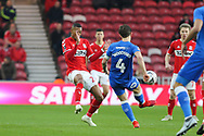 Peterborough United midfielder Alex Woodyard (4) clears the ball ahead of Middlesbrough midfielder Rajiv Van La Parra (29) during The FA Cup 3rd round match between Middlesbrough and Peterborough United at the Riverside Stadium, Middlesbrough, England on 5 January 2019.