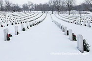 65095-03002 Wreaths on graves in winter Jefferson Barracks National Cemetery St. Louis,  MO