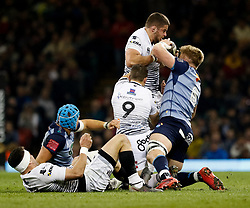 Ospreys' Nicky Smith under pressure from Cardiff Blues' Macauley Cook<br /> <br /> Photographer Simon King/Replay Images<br /> <br /> Guinness PRO14 Round 21 - Cardiff Blues v Ospreys - Saturday 28th April 2018 - Principality Stadium - Cardiff<br /> <br /> World Copyright © Replay Images . All rights reserved. info@replayimages.co.uk - http://replayimages.co.uk